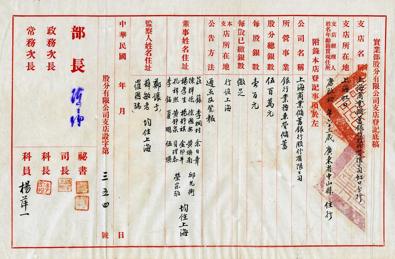 1934年6月,上海商業儲蓄銀行虹口分行登記表。(17-23-01-72-23-003-15)