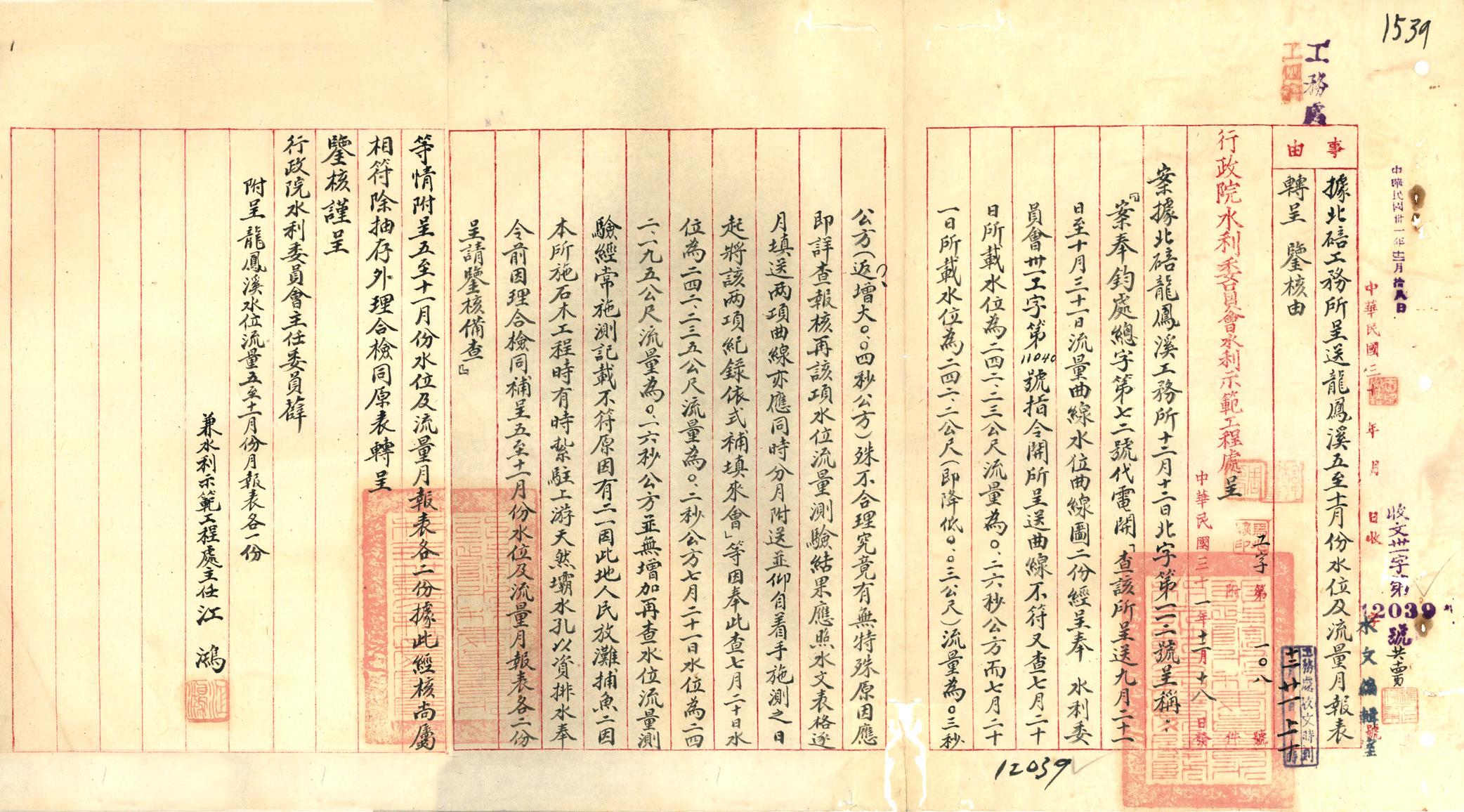 民國31年12月,行政院水利委員會水利示範工程處主任江鴻呈
